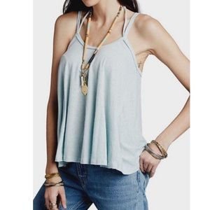 Free People So in Love With You Moonstone Blue Top